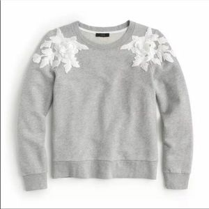 NWT J Crew Sweatshirt 3D Lace Applique Gray XXS